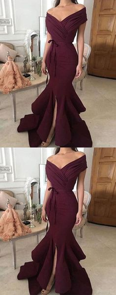 087313592a Simple off shoulder long prom dress
