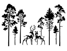 vintage deers in forest stencil 2