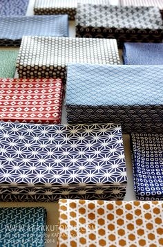 We are selling 20 kinds of Japanese TENUGUI (Japanese towels). Made in Japan. Japanese Textiles, Japanese Patterns, Japanese Prints, Japanese Fabric, Japanese Design, Japanese Cotton, Textile Patterns, Textile Design, Fabric Design