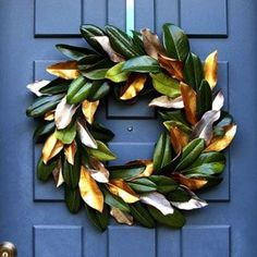 Easy tutorial & video on how to make a beautiful magnolia wreath for free! It is long-lasting & looks amazing for Thanksgiving, Christmas, or year round! A Piece of Rainbow # Easy DIY beauty 24 Colorful Winter Planters & Christmas Outdoor Decorations Hanging Mason Jar Lights, Diy Hanging, Outdoor Christmas Decorations, Christmas Wreaths, Christmas Crafts, Thanksgiving Decorations, Christmas Planters, Garden Decorations, Xmas