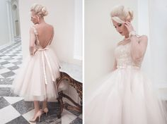 Couture gowns by England's House of Mooshki are for the high end bride looking for a bridal gown with vintage glamour.