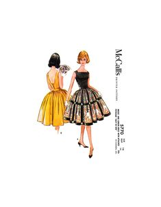Party or Cocktail Dress with Square Neckline, Petticoat & Full Skirt, Bust 36 Waist 28 Hip McCall's 5770 Sewing Pattern Reproduction 60s Party, Full Skirts, Square Necklines, 1960s Fashion, Fitted Bodice, Sewing Patterns, Cocktail, Prints, Fashion Design
