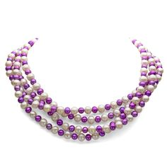 """7-7.5mm White and 5-5.5mm Dyed-purple Freshwater Cultured Pearl Endless Necklace, 72"""". All Freshwater Pearls are directly imported from the pearl farms of China. Our pearls represent the finest in pearl selection, handpicked for its luster, quality, color, and cleanliness. Makes for a perfect necklace for yourself or for the women you value and love. This jewelry is beautifully assembled and designed by our highly skilled jewelers in the USA with great attention to quality and detail. To..."""