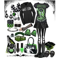 """""""Skele-girl"""" by octoburfrost on Polyvore."""