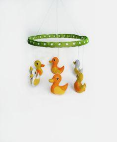 Baby Mobile Duck Room Decor Felt Ducks Yellow and White Crib Mobile Baby Shower Gift Handmade Toys Mobile Easter Fancy Creative Home Decor by BelkaUA on Etsy