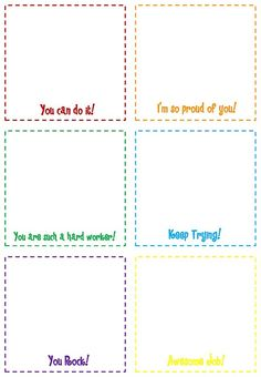Print these simple boxes to keep on hand for writing quick notes to students.