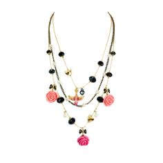 Betsey Johnson Rose with Charms Necklace from LittleBlackBag.com :: Rose :: Charm : Necklace :: Multi :: Strand :: Pink :: Black :: Gold