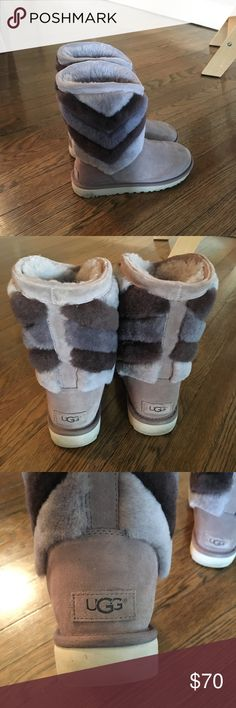 Gray Ugh boots with chevron fur pattern Gray Ugg mid calf boots.  Very small spot on toe, can be cleaned.  See pictures for details. UGG Shoes Winter & Rain Boots