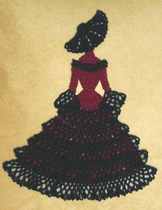 0535 Spanish Senorita Crinoline Girl Doily Crochet Pattern