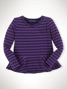 toddler purple stripe tee Maternity photo  Striped Peplum Tee - Girls 2-6X Tops & Tees - RalphLauren.com