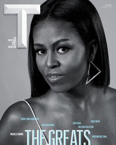 "#FirstLady Of The United States ❤️#MichelleObama Looks Flawless on the Cover of T Magazine's ""The Greats Issue October 17, 2016 by CAITLIN First Lady Michelle Obama graces one of seven covers for T magazine's October 2016 ""The Greats Issue,"" and to say she's deserving of that title is definitely an understatement. The first lady looks beautiful on the black-and-white cover, showing some skin in a spaghetti-strap tank top, earrings, and natural makeup."