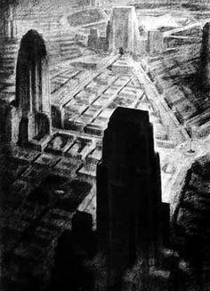 Hugh Ferriss - Cidade Imaginária [FERRISS, Hugh. La Métropole du futur. Paris, Centre Georges Pompidou, 1987]