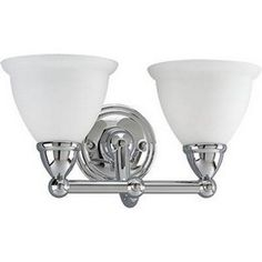 Progress Lighting P3107-15 2-Light Wall Sconce with Satin Opal Glass, Polished Chrome- kids bath (one above each sink)