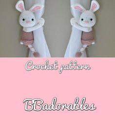 Bonita - Bunny ballerina curtain tieback crochet PATTERN, right or left tieback pattern PDF instant Crochet Stitches, Crochet Hooks, Crochet Patterns, Ballerina, Magic Ring Crochet, Single Crochet Stitch, Curtain Tie Backs, Cute Bunny, Half Double Crochet