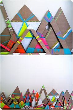 i love the stark, muted cardboard against the bright, saturated neon. really makes the colors pop. doing this for all my gift wrapping and office decor this season. Cardboard Crafts, Paper Crafts, Cardboard Display, Cardboard Sculpture, Crafts For Kids, Arts And Crafts, Recycled Art, Art Plastique, Art Activities