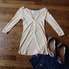 NWOT Free People Intimates sz Small Button Front NWOT Free People Intimates sz Small Button Front, gorgeous details! Gold thread and beautiful airy fabric. Semi sheer, color is a very pale nude/peach. All gold snaps are fully functional. MAKE AN OFFER! Free People Tops Tees - Long Sleeve