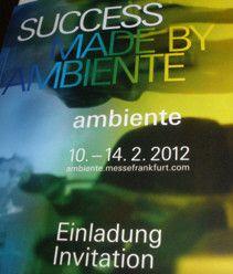 Ambiente 2012 : le Salon International des Biens de Consommation du 10 au 14 Février 2012, à Francfort-sur-le-Main, en Allemagne. A ce célèbre salon international des biens de consommation, plus de quatre-vingt pays étaient présents, avec la participation...