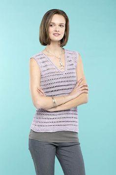 """Universal Yarn: Ladders Tank - Free Crochet Pattern in sizes: 34 (38, 42, 46, 50, 54)"""" Dk yarn."""
