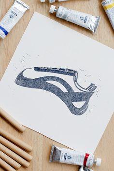 Rock climbing art print climbing shoe. An ideal by ClimberPrints, $29.00