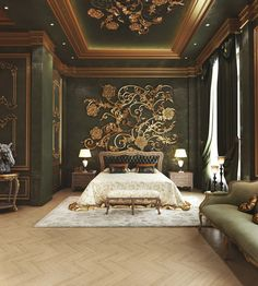 Classic Royal Bedroom on Home Inteior Ideas 4623 Master Bedroom Interior, Luxury Bedroom Design, Luxury Home Decor, Bedroom Decor, Luxury Cabin, Bedroom Ideas, Bedroom Shelves, Bedroom Signs, Contemporary Bedroom