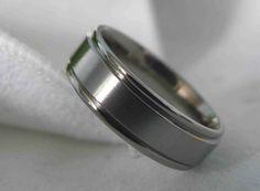 Titanium Ring or Non Traditional Wedding Band Mens AX19. $40.00, via Etsy.