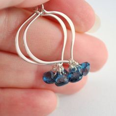 London Blue Topaz Earrings Sterling Silver Lotus Hoops Teal Gemstone Jewelry Complimentary Shipping