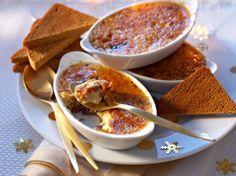 Découvrez la recette Crème brûlée au foie gras et fruits secs au muscat sur cuisineactuelle.fr.