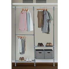 """Relaxed Living Adjustable Metal Closet System In Satin Nickel - Add more hanging capacity to your closet with this Relaxed Living Adjustable Closet System. Attach it to the existing rod in any closet at least 48"""" wide, and create your own customized storage solution that maximizes your usable space."""