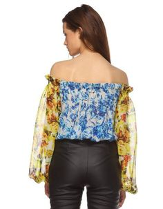 Rococo Sand Romantic Florals Off the Shoulder Top | SWANK