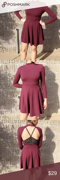 NEW Maroon Long Sleeve Open Sleeve Mock Neck Dress Brand New without Tags American Apparel Long Sleeve Open back dress. Beautiful classy high neck front and sexy open back.  Super stretchy and comfortable material. Two button closure on back of neck.  Feel free to make an offer or add to a bundle for discounted/free shipping! NO TRADES! American Apparel Dresses