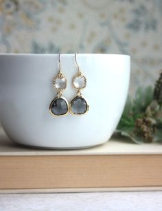 Gold Dark Grey Glass Pear, with Clear Glass Drop Dangle Earrings. Modern Everyday. Wedding. Bridesmaids Earrings. Grey Wedding, Gray Wedding...