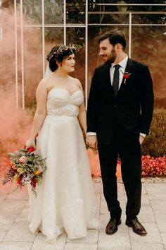 A Bright, Quirky Wedding at Planterra Conservatory in West Bloomfield, Michigan Bohemian Flowers, Silk Flowers, Confetti Cake, Quirky Wedding, Silk Organza, Delphinium, Bridesmaid Dresses, Wedding Dresses, Flower Crown
