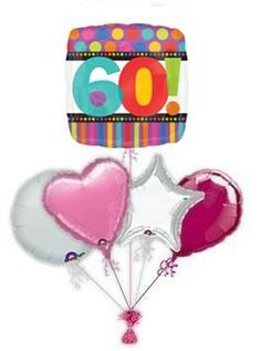 """Mark the special day with wonderful """"Dots & Stripes birthday balloon delivery or balloon bouquets. Fantastic helium filled birthday balloons by post delivered by free balloon delivery! Birthday Balloon Delivery, 60th Birthday Balloons, 21st Birthday, Balloon Bouquet, Birthdays, Dots, Stripes, Anniversaries, Stitches"""