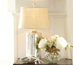 This would be perfect as bedside lighting in the master bedroom! Geena Etched Metal Colum Table Lamp from Pottery Barn.