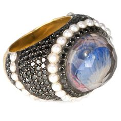 """Sevan Biçakçi: carved crystal, diamond, pearl and gold """"oyster and pearl ring""""."""
