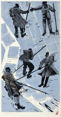 Tidewater Ice - Linocut & Woodblock by Holly Meade 2008