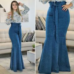 Image may contain: 1 person, standing and shoes Classy Outfits, Chic Outfits, Beautiful Outfits, Modest Fashion, Hijab Fashion, Fashion Dresses, Iranian Women Fashion, African Fashion, Denim Maxi Dress