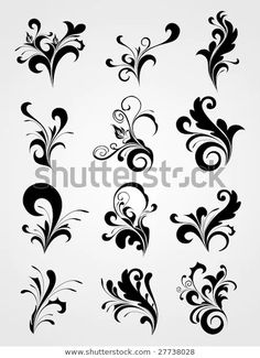 Stencil Patterns, Stencil Designs, Embroidery Patterns, Design Floral, Graphic Design, Arabesque, Scroll Tattoos, Scroll Pattern, Floral Illustrations