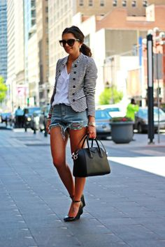 Love this...I hate boxy blazers and feel uncomfortable in super fitted ones...this is perfect...minus the cutoffs I could wear to work functions