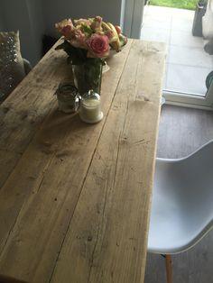 Handmade reclaimed wood table with Eiffel chairs