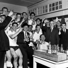 1960-61 After a 2-1 win over Sheffield Wednesday, the Spurs players celebrate with champagne in the White Hart Lane dressing room  | Tottenham Hotspur Football Club