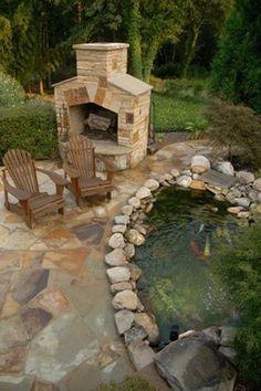 32 Ideas Backyard Landscaping Fireplace Water Features For 2019 Backyard Privacy, Ponds Backyard, Backyard Patio, Koi Ponds, Living Pool, Outdoor Living, Pond Waterfall, Pond Landscaping, Traditional Landscape