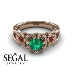 Flower and Leafs Powerhouse Ring Green Emerald Ring- Mackenzie no. Elegant Engagement Rings, Round Diamond Engagement Rings, Wedding Engagement, Gold Solitaire Ring, Gold Rings, Green Emerald Ring, Wedding Ring Bands, Unique Rings, Art Nouveau