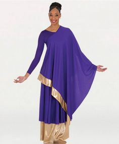Convertible asymmetrical caftan pullover has one side with gold trim and the other with a side slit for a variety of wearing options.Made of Matte Polyester. Praise Dance Wear, Praise Dance Dresses, Worship Dance, Jazz Dance, Dance Class, Hip Hop Dance Outfits, Garment Of Praise, Renz, Dance Tops