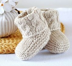 KNITTING PATTERN Baby Booties with Aran Cable Cuffs - This listing is for a PATTERN and not the finished item. Baby Booties in Classic traditional