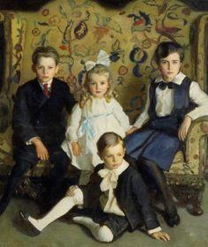 "Harrington Mann (1864-1937) ""A Family Portrait of Four Children"""