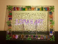 #صينيه_زجاج #رسم شناشيل Iraqi artist Lubna's Art