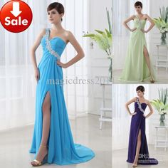 Wholesale Prom - Buy Cheap 2013 In Stock Under 100 Blue One Shoulder Chiffon Appliques Long Prom Dresses Party Gown SD012, $49.9 | DHgate