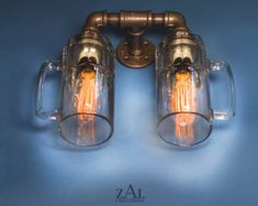 Wall Light. Lamp. Beer bottles Plumbing pipe & by ZALcreations