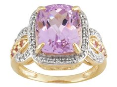 4.30ct Rectangular Cushion Kunzite, .17ctw Round Pink Sapphire, .13ctw White Diamond 10k Gold Ring